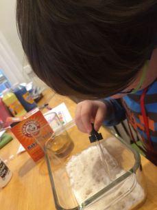 baking soda + dropper of vinegar