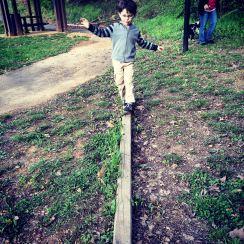 Outdoor balance beam