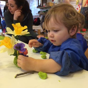 Spring flowers in playdough