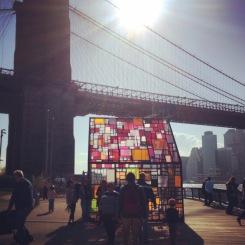 Stain glassed art instillation below the bridge