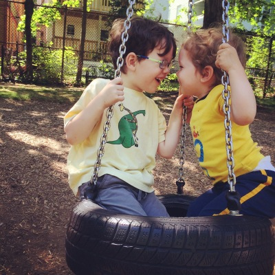 tire swing, playground, brothers