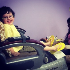 Bright ORANGE pedi with Mama!