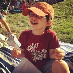 laughing & enjoying ice cream