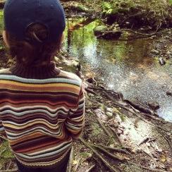 admiring the stream