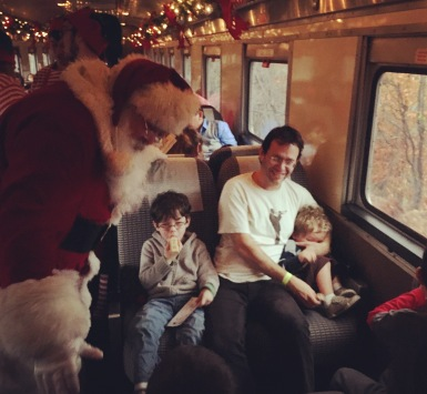 Santa on the train to Christmas Town