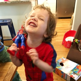 Happy boy with Spider-Man