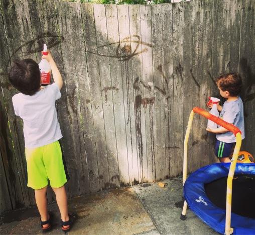 Water spray graffiti