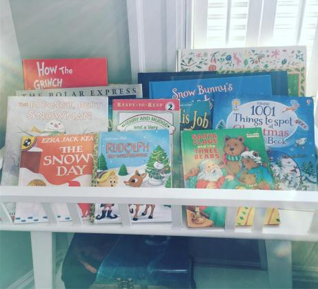 Christmas books, kids books, book display