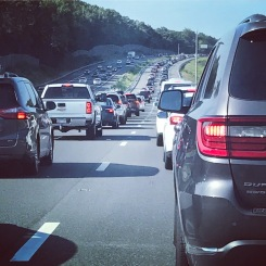 Traffic leaving Richmond, VA.