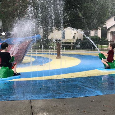 Splash pad on a hot day