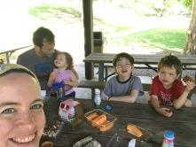 Picnic family selfie