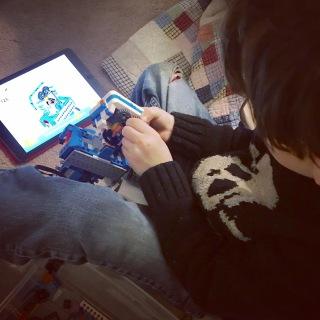 Coding his Lego robot